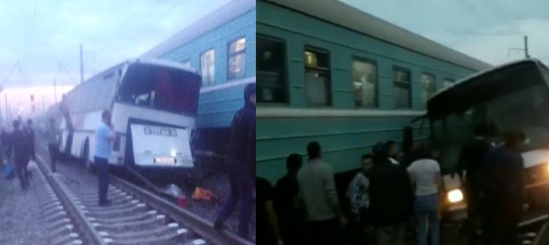 В Алматинской области поезд врезался в автобус, который стоял на рельсах. Погиб водитель автобуса