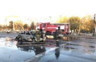 В Костанае сгорел автомобиль такси