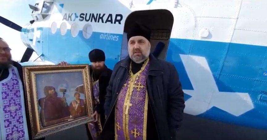 Казанская икона Божией Матери на самолете облетела Костанай, чтобы спасти регион от коронавируса